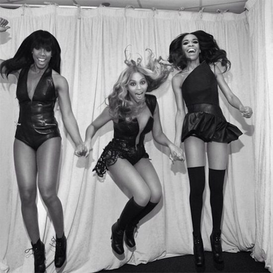 Destinys Child Jump Backstage At SuperBowl