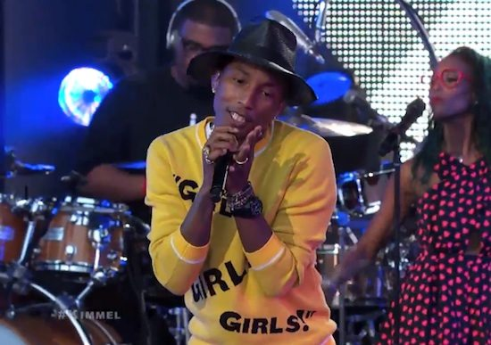 pharrell-williams-jimmy-kimmel-live-marilyn-monroe-screenshot