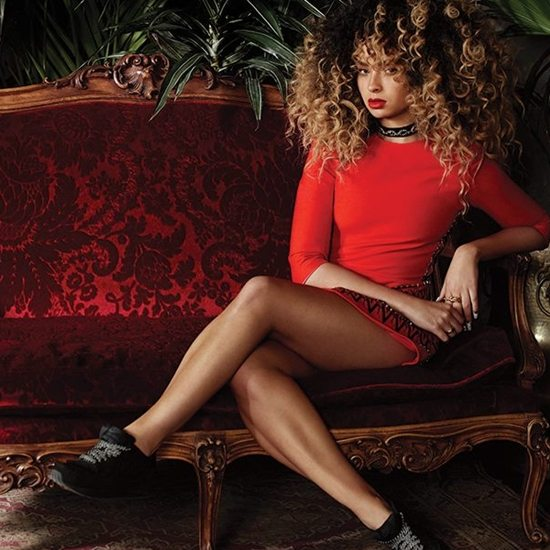ella-eyre-red-dress-red-sofa
