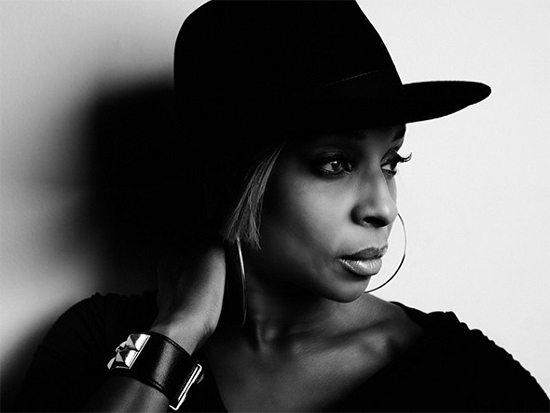 Mary J Blige Black & White Wearing Hat