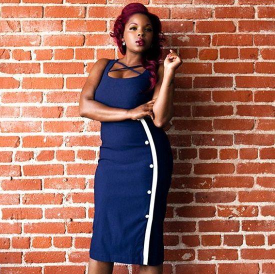 Nicole Wray Blue Skirt White Stripe