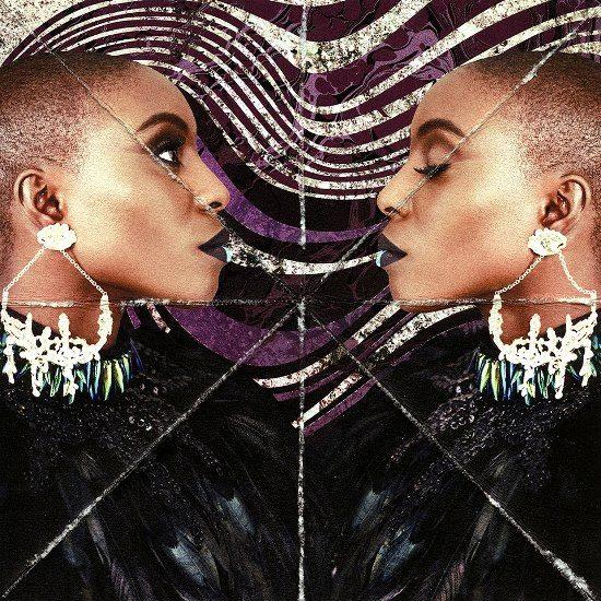 laura-mvula-mirror-effect-feathers-chandelier-earrings-purple-background