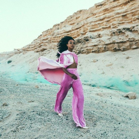 Corrine-Bailey-Rae-Pink-Velvet-Cape-Pants-Desert