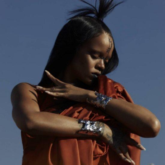 rihanna-sledgehammer-video-still-red-costume-tribal-face-paint
