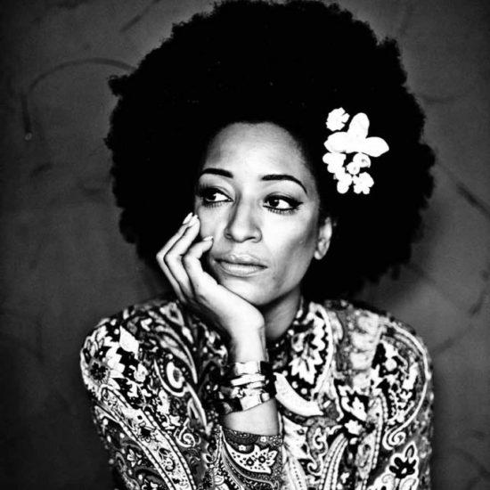 julie-dexter-big-afro-flower-in-hair-printed-top-bangles